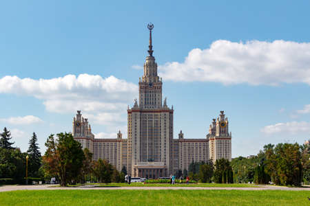 Lomonosov Moscow State University (MSU). View of the main building on Sparrow Hills Stock Photo