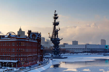 Moscow, Russia - February 01, 2018: Monument to Peter I on the Moskva River in winter. View from the Patriarshiy Bridge
