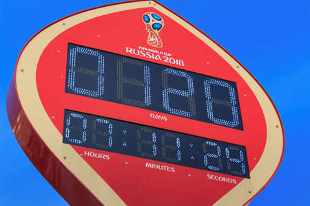 Moscow, Russia - February 14, 2018: Countdown timer prior to starting of the championship FIFA World Cup Russia 2018 on Manezhnaya square in Moscow