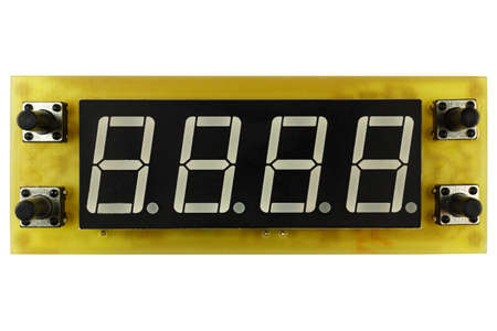 Printed circuit board of electronic timer clock with LED indicator and control buttons isolated on white background