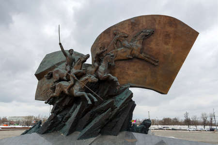 Moscow, Russia - March 22, 2018: Monument to the Heroes of the First world war on Poklonnaya Hill in Moscow