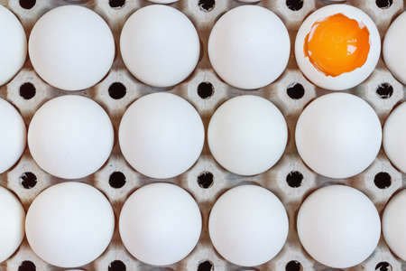 White chicken eggs and opened egg with yolk in cardboard tray. Top view Standard-Bild - 100936555