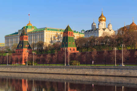 View of towers and buildings of Moscow Kremlin on a sunny spring morning