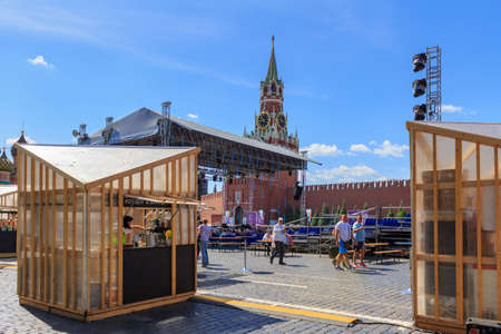Moscow, Russia - June 3, 2018: Book festival Red square 2018. Open russian book fair on Red square in Moscow
