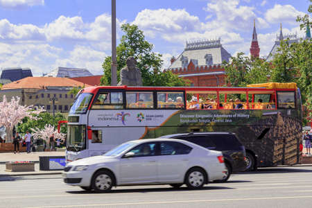 Moscow, Russia - June 03, 2018: Tourist bus on the street in Moscow on a sunny summer morning