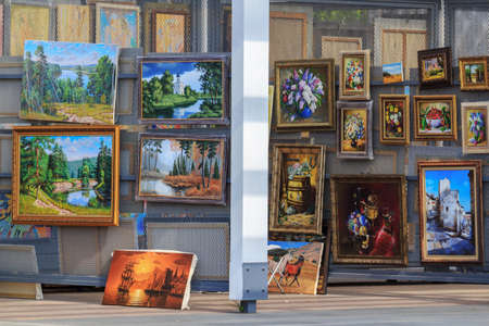 Moscow, Russia - July 30, 2018: Exhibition of paintings by contemporary artists near New Tretyakov Gallery on Krymsky Val street in Moscow