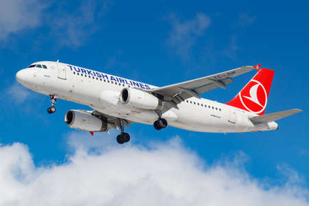 Moscow, Russia - March 26, 2019: Aircraft Airbus A320-232 TC-JUF of Turkish Airlines against blue sky in sunny morning going to landing at Vnukovo international airport in Moscow