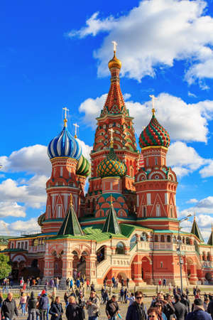 Moscow, Russia - September 30, 2018: Architecture of St. Basil Cathedral on Red Square. Moscow historical center landscape 写真素材 - 120755532