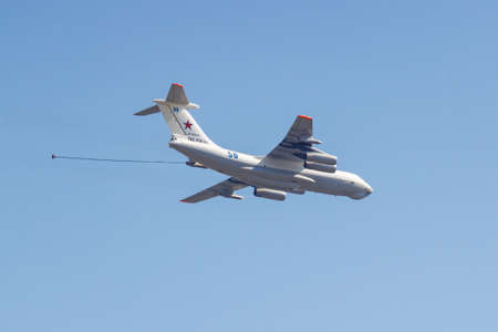 Moscow, Russia - May 07, 2019: Refueling aircraft IL-78 in the blue sky over Red Square. Aviation part of Victory parade 2019 in Moscow