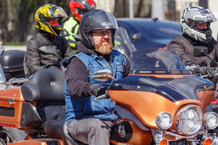 Moscow, Russia - May 04, 2019: Bikers in an organized column ride along Garden Ring in Moscow. Motofestival MosMotoFest 2019. Official opening of motoseason Editorial