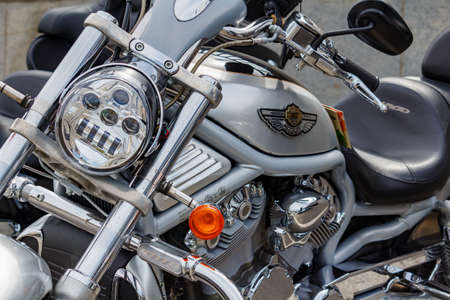 Moscow, Russia - May 04, 2019: Harley Davidson motorcycle in a parking closeup. Moto festival MosMotoFest 2019 Editorial