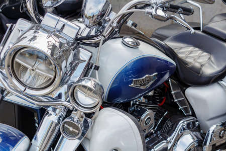 Moscow, Russia - May 04, 2019: Chromed Harley Davidson motorcycles in a parking at sunny day. Moto festival MosMotoFest 2019