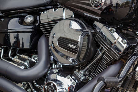 Moscow, Russia - May 04, 2019: Chromed engine of Harley Davidson motorcycle closeup. Moto festival MosMotoFest 2019