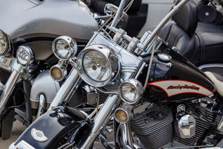 Moscow, Russia - May 04, 2019: Chromed Harley Davidson motorcycles in a parking. Moto festival MosMotoFest 2019