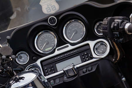 Moscow, Russia - May 04, 2019: Dashboard with indicators of Harley Davidson motorcycle closeup. Moto festival MosMotoFest 2019