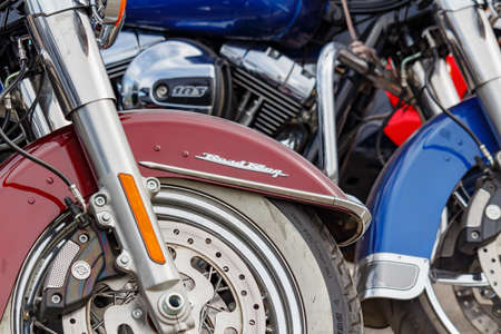 Moscow, Russia - May 04, 2019: Front wheels of Harley Davidson motorcycles closeup. Moto festival MosMotoFest 2019 Editorial