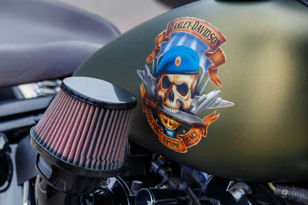 Moscow, Russia - May 04, 2019: Matte green fuel tank of Harley Davidson motorcycle with skull in blue beret of russian paratroopers and inscription None But Us. Moto festival MosMotoFest 2019