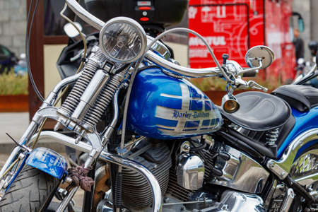 Moscow, Russia - May 04, 2019: Harley Davidson motorcycle with airbrushing and chrome in parking. Moto festival MosMotoFest 2019