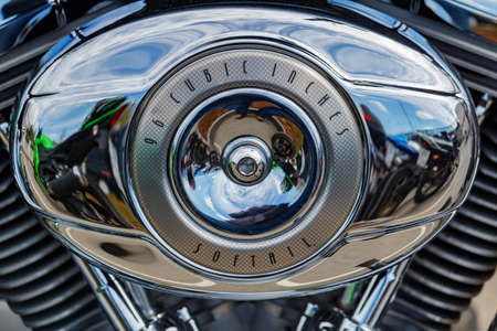 Moscow, Russia - May 04, 2019: Chrome engine of Harley Davidson motorcycle closeup. Moto festival MosMotoFest 2019 Editorial