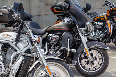 Moscow, Russia - May 04, 2019: Front part of parked Harley Davidson motorcycles closeup. Moto festival MosMotoFest 2019