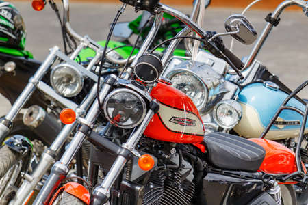 Moscow, Russia - May 04, 2019: Harley Davidson motorcycles on a parking in sunny day. Moto festival MosMotoFest 2019