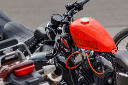 Moscow, Russia - May 04, 2019: Forty Eight Harley Davidson motorcycle on a parking. Moto festival MosMotoFest 2019 Editorial