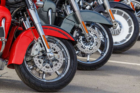 Moscow, Russia - May 04, 2019: Harley Davidson motorcycles front wheels closeup. Moto festival MosMotoFest 2019 Editorial