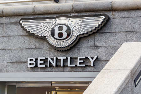 Moscow, Russia - June 02, 2019: Bentley signboard above entrance to the official dealer showroom