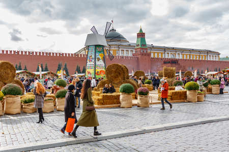 Moscow, Russia - October 05, 2019: Haystacks on the exposition of traditional festival Golden Autumn on Red Square in Moscow
