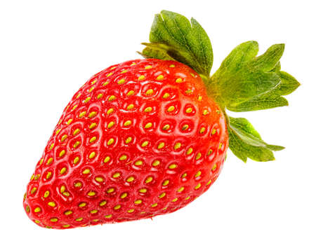Ripe red strawberry with green leaves isolated on a white background