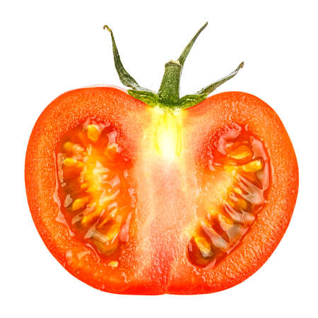 Half of cutted ripe bright red tomato with green leaves isolated on a white background