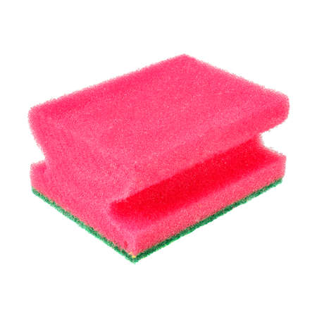 Pink foam rubber sponge for washing dishes isolated on white background Foto de archivo