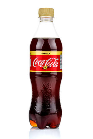 Moscow, Russia - March 17, 2020: Coca-Cola transparent plastic bottle with vanilla flavor isolated on white background