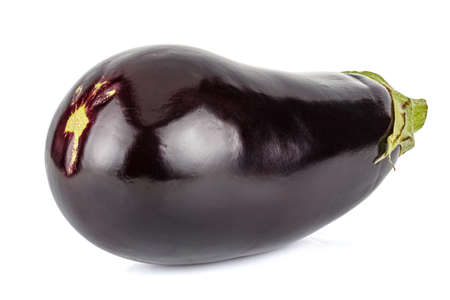 Fresh eggplant with glossy surface isolated on white background Standard-Bild
