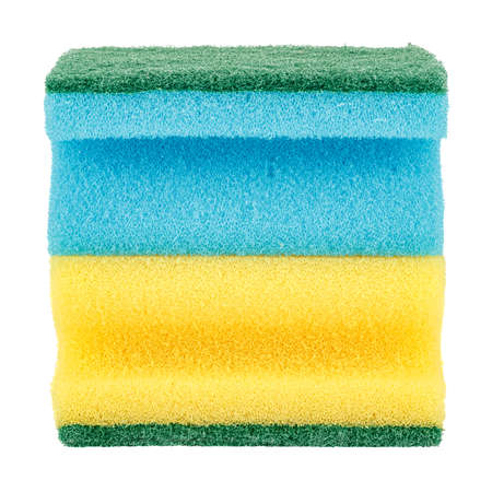 Bright yellow and blue sponges for washing dishes isolated on white background