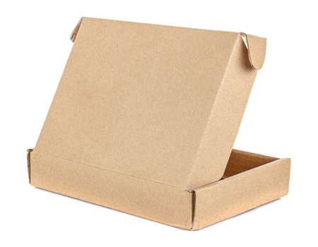 Rear view of open flat brown carton box isolated on white background