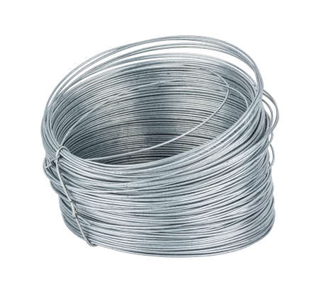 Coil of thin steel galvanized wire isolated on white background