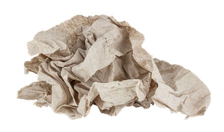 Crumpled cheap gray toilet paper isolated on white background