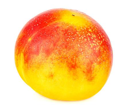 Fresh and ripe colorful nectarine close-up isolated on white background Standard-Bild