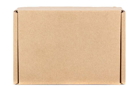 Top view of flat brown carton box with closed lid isolated on white background