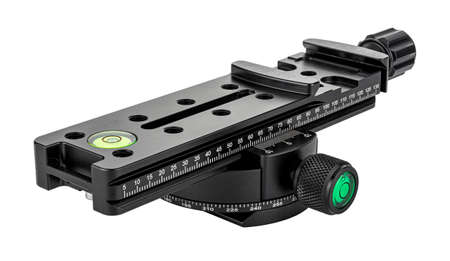 Quick release nodal slide rail mounted on rotary panoramic tripod head isolated on white background. Panoramic shooting equipment