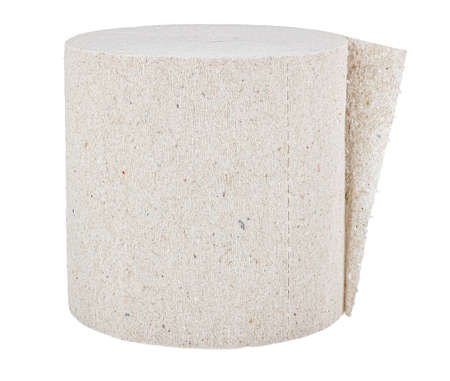 Roll of cheap gray toilet paper close-up isolated on white background
