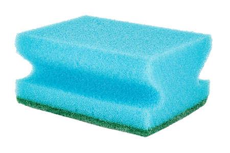 Blue sponge for washing dishes close-up isolated on white background Standard-Bild