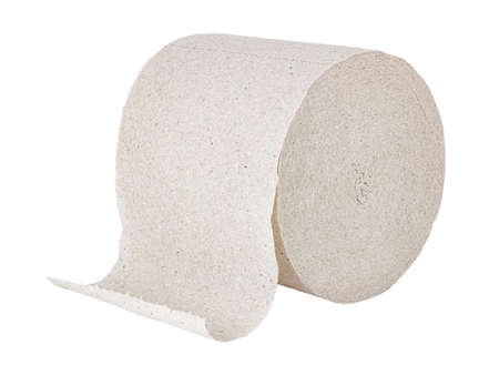 Cheap gray toilet paper in roll isolated on white background