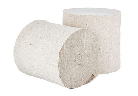 Two rolls of cheap gray toilet paper isolated on white background Standard-Bild