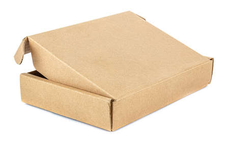 Back side view of open flat brown carton box isolated on white background Standard-Bild