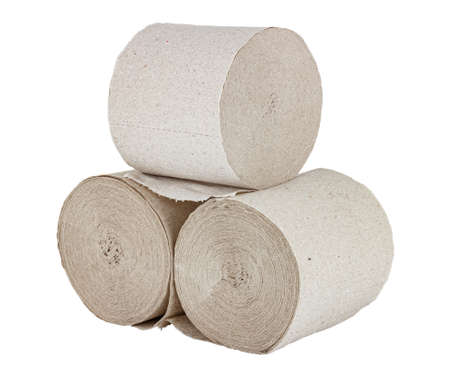 Three rolls of gray toilet paper isolated on white background Standard-Bild