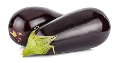 Two fresh and ripe eggplants isolated on white background Standard-Bild