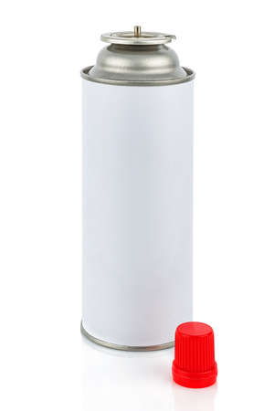 Portable gas cylinder for welding torch with removed protective red cap isolated on white background