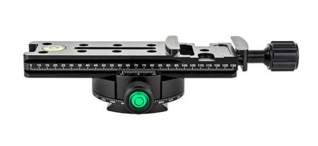 Side view of nodal slide rail with rotary panoramic tripod head isolated on white background. Panoramic shooting equipment